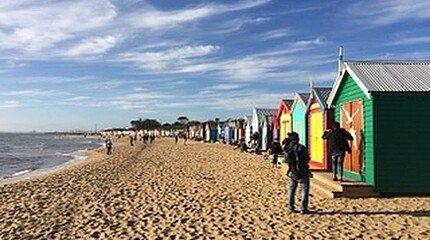 Bunte Badehäusschen am Brighton Beach