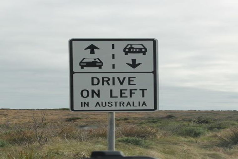 Drive on the Left Sign