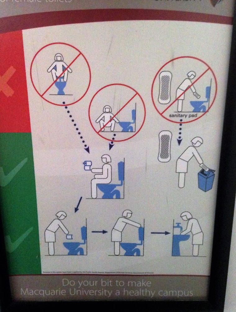 Instruktionen zur Toilettennutzung